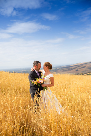 Bride and groom in the sunny field
