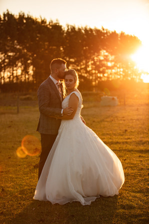 Wedding photo during the golden hour at Lacebark Function Centre