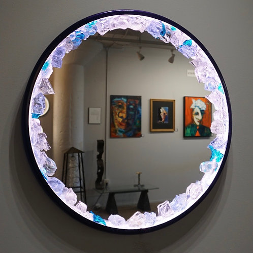 "RGBW Glass Chip Ring Mirror 25"" Diameter"