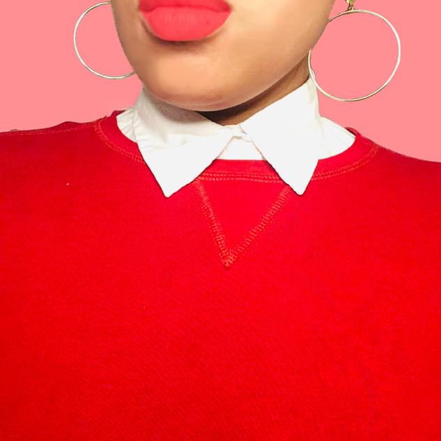 Faux Collar Sweatshirt