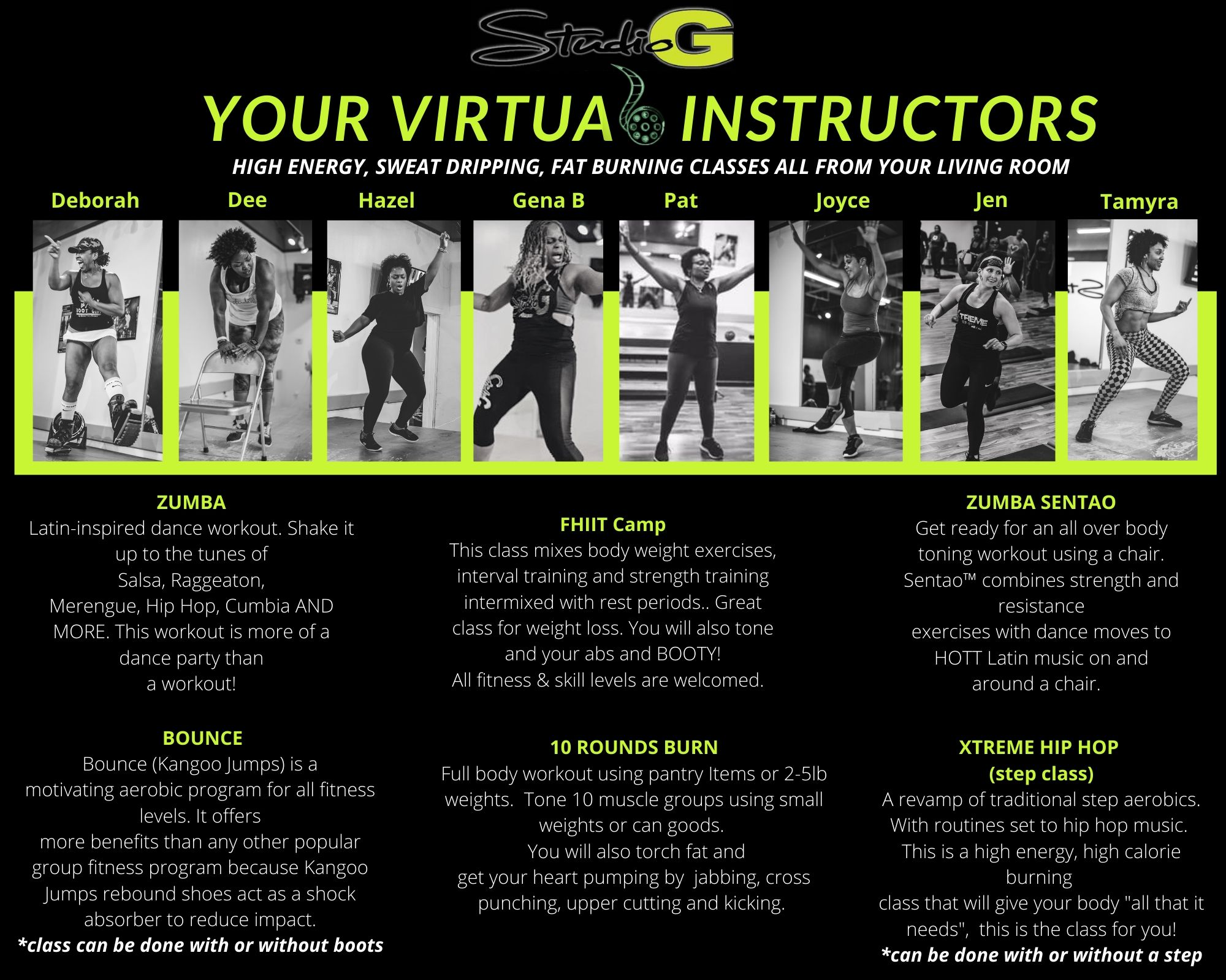 Virtual Fitness Class Descriptions