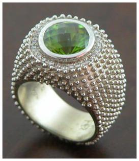 5ct peridot ring in 14 K white with diam