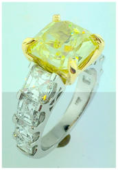 Yellow with White Diamond Ring