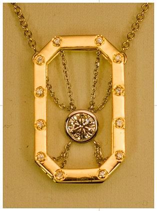 18k Gold-Unchain My Love Pendant with .79 ct Centet Diamond