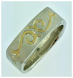 14k White Gold inlayed with Gold