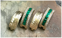 Engraved Emerald & Diamond Earrings