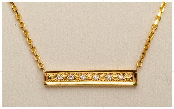 14k Gold-Engraved Bar Pendant 4