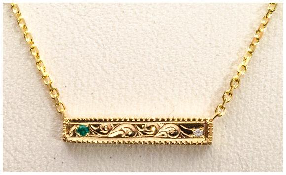 14k Gold-Engraved Bar Pendant