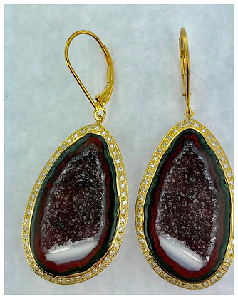Geode Earrings in 14k Gold with .75 ct Diamonds