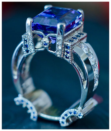 Large Sapphire Ring in Platinum with Diamonds & Sapphires