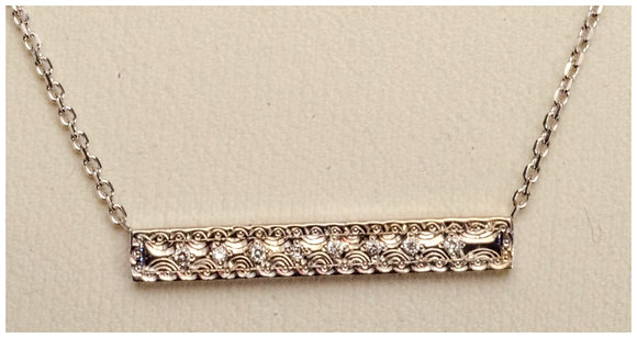 14k Gold-Engraved Bar Pendant 8