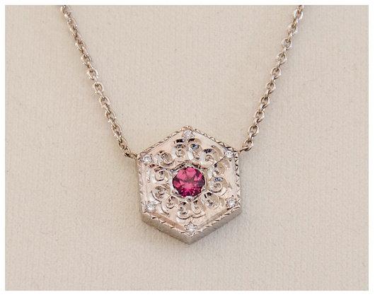 14k Gold-Pink Sapphire Engraved Pendant