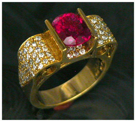 very fine pink tourmaline with diamonds
