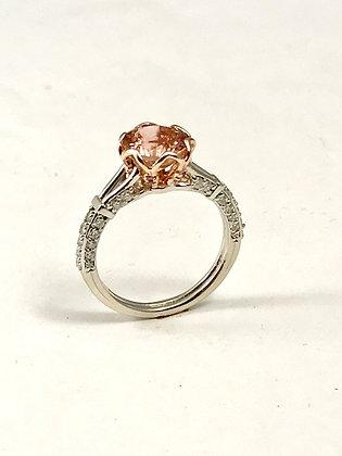 Tulip Ring-White & Rose Gold with Pink Tourmaline