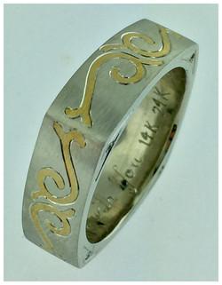 Inlayed White Gold Ring