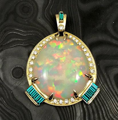 Opal & Emerald Pendant in 18k