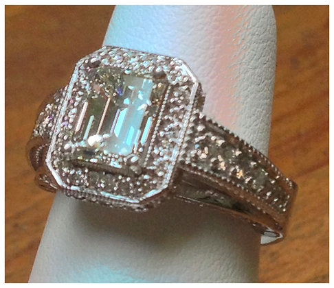 3 Ct Emerald Cut Diamond in White Gold Ring