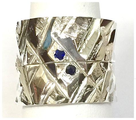 14k Gold-Gentlemans Wedding Set with Sapphires Ring