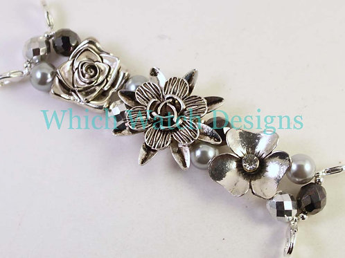 Silver Floral Watch Band