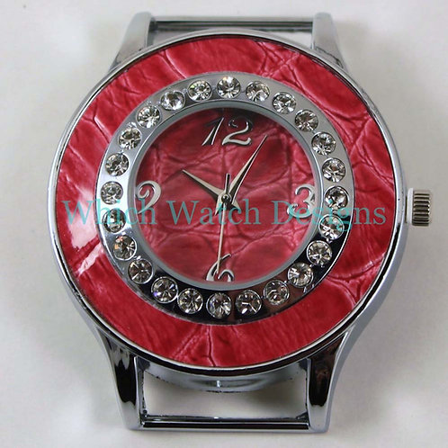 Red Snakeskin Round Watch Face