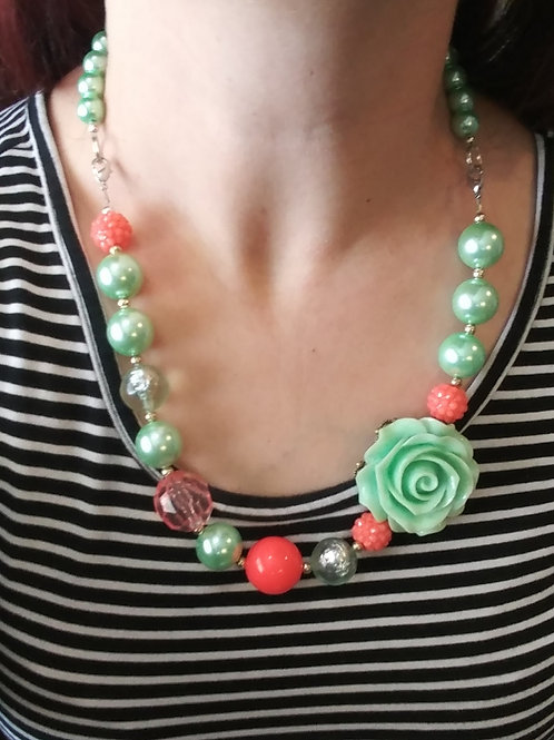 Mint & Coral Necklace