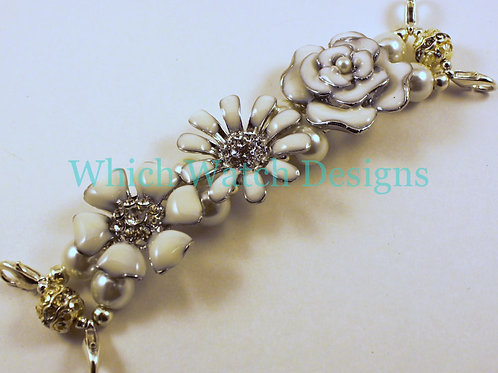 White Floral Watch Band