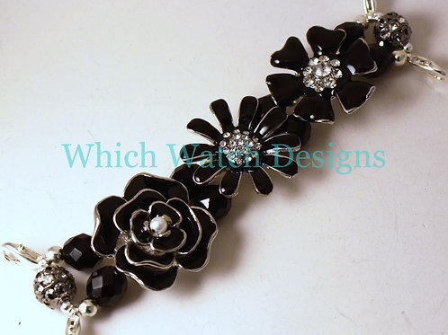 Black Floral Watch Band