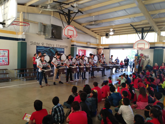 Rivera Drumline Performs for Perez Elementary Students