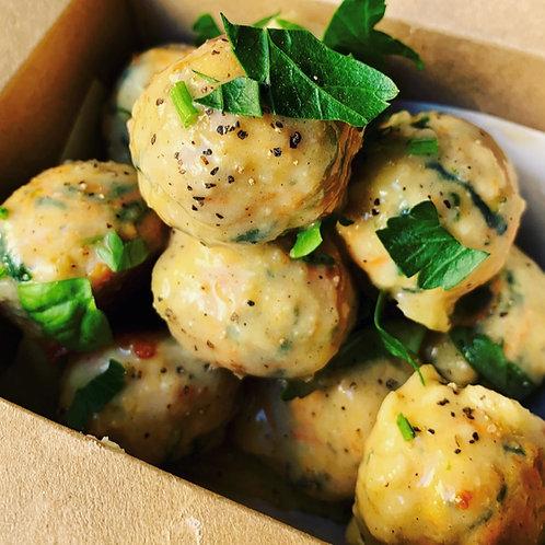 Turkey Spinach Meatballs in Thyme Gravy
