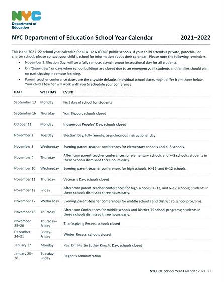 School year calendar 2021-2022