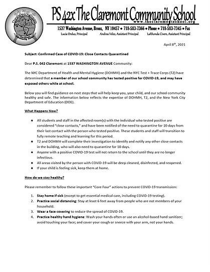 School Community Important Health Notice
