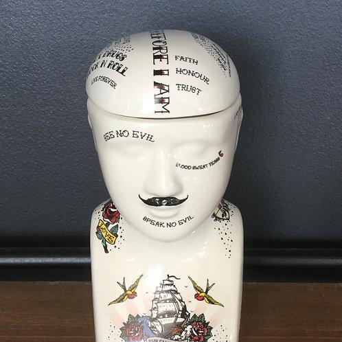 Small Tattoo Phrenology Head Jar