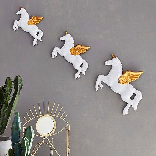 Set of 3 Flying Unicorns Wall Decorations