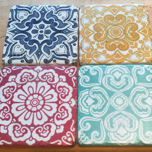 Set of 4 Patterned Tile Coasters