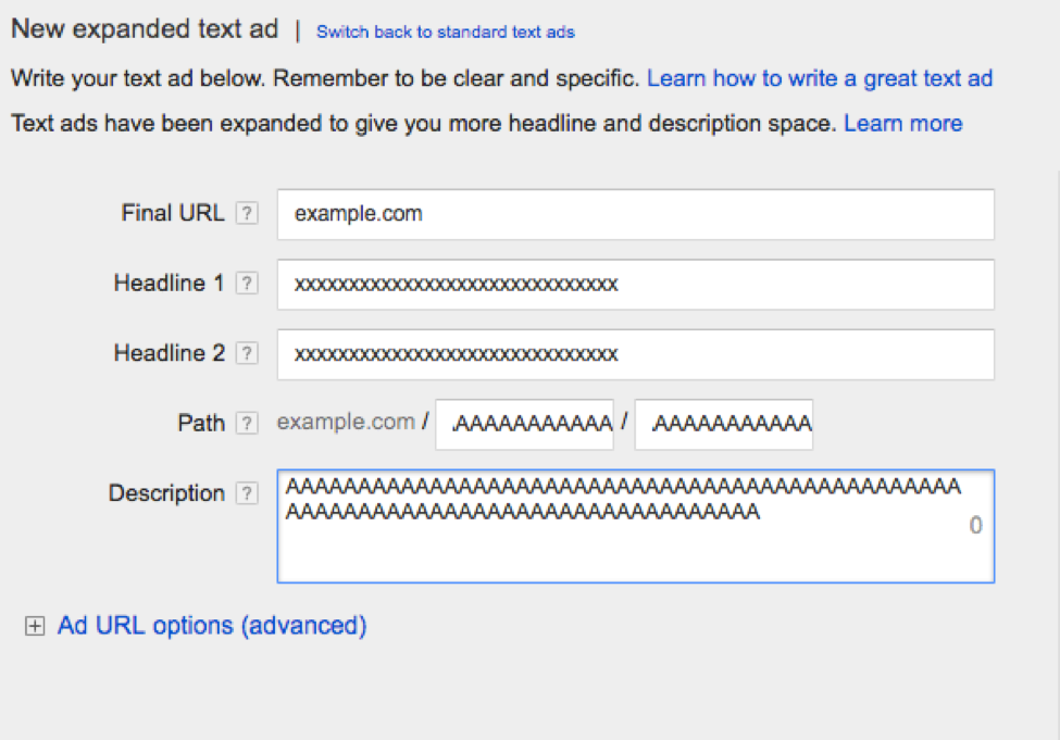 Google Adwords UI - Expanded Text Ads Feature