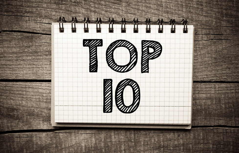 Top 10 written on paper sheet on wooden