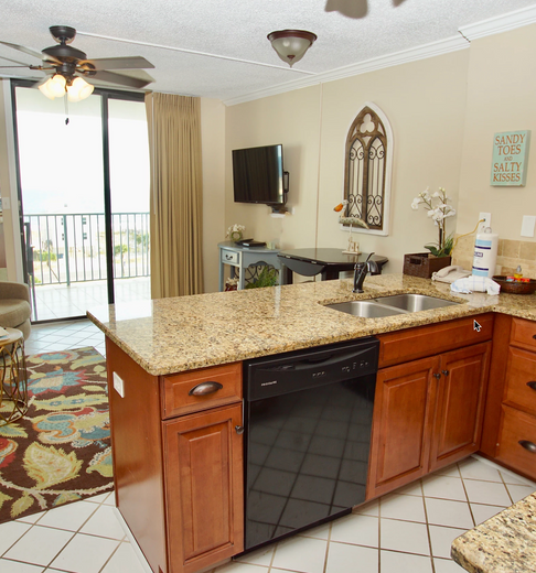 A view from the kitchen to the oceanview balcony