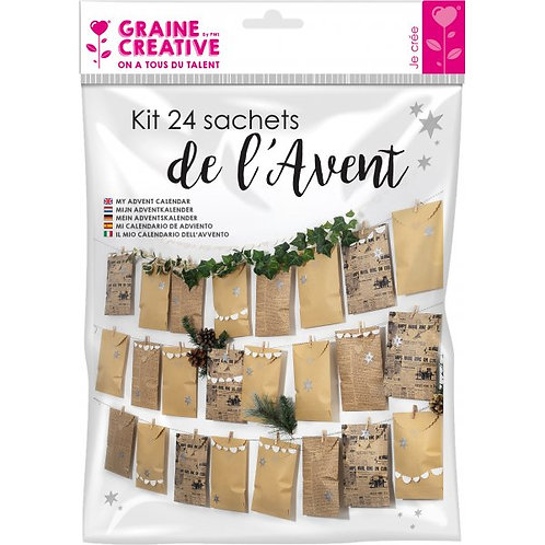 KIT CALENDRIER DE L'AVENT 24 sachets KRAFT