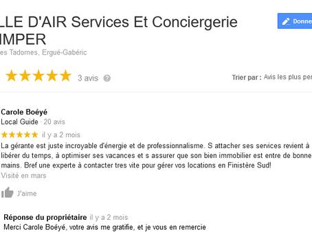 Des avis Google pour Bulle d'air Conciergerie: un gage de qualité pour une satisfaction totale