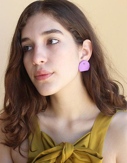 Surface-Handmade-Purple-Cut-Circle-Earri
