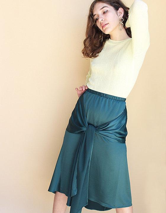 Achro-Bow-Front-Satin-Skirt-and-Round-Ne