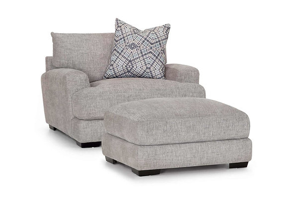 Crosby Grey Collection - Chair and a half with ottoman