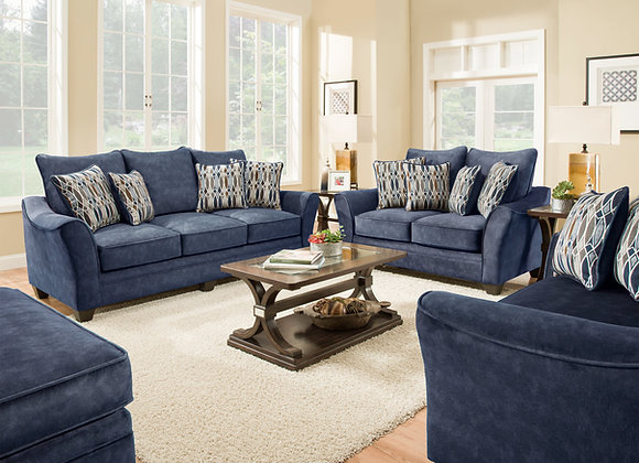 Athena Navy Sofa, Love, Chair and Ottoman