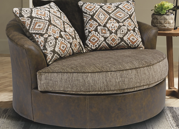 Abalone Oversized Swivel Accent Chocolate Chair