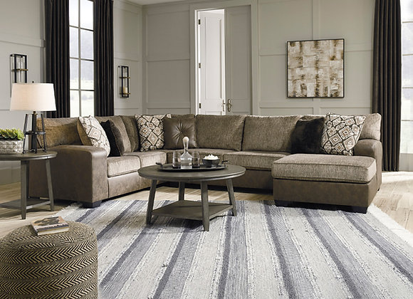 Abalone 3pc Chocolate Sectional with Chaise