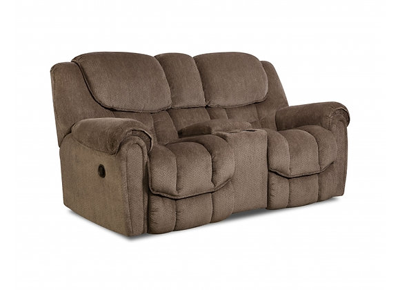 Taupe Reclining Console Loveseat