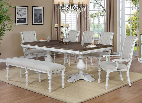 Bardot Dining Table with Bench 7pc Set