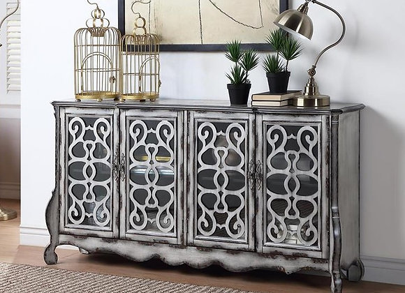 Aged Misty Grey & Light Brown Credenza