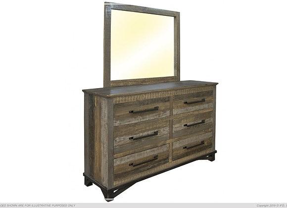 Loft Brown 6 Drawer Dresser with Mirror