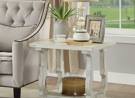 Orchard White Rub End Table